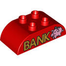 """LEGO Duplo Brick 2 x 4 with Curved Sides with """"BANK"""" and Pink Piggy Bank (15985 / 98223)"""