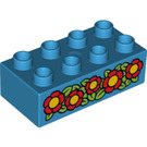 LEGO Duplo Brick 2 x 4 with Red Flowers (3011 / 15934)
