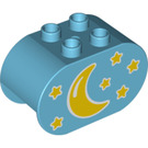 LEGO Duplo Brick 2 x 4 x 2 with Rounded Ends with Crescent moon and stars (6448 / 19431)