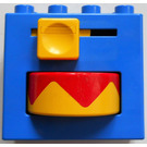 LEGO Duplo Brick 2 x 4 x 3 with Red/Yellow Rotating Disc and Yellow Handle