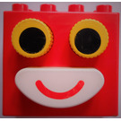 LEGO Duplo Brick 2 x 4 x 3 with yellow eyes and white mouth (pressable buttons)