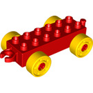 LEGO Duplo Car Chassis 2 x 6 with Yellow Wheels (10715 / 14639 / 74656)