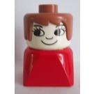 LEGO Duplo Female on Red Base, Fabuland Brown Hair, Eyelashes, Nose Duplo Figure