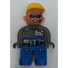 LEGO Duplo Figure, Male Action Wheeler, Blue Legs, Dark Gray Top