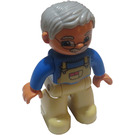 LEGO Duplo Grandpa Figure - Medium Stone Hair, Flesh Head and Hands, Tan Legs and overall pattern on Blue shirt Duplo Figure
