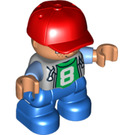 LEGO Duplo Male Child with Blue Legs, Red Cap and Light Bluish Gray Torso with '8' Decoration and Medium Blue Arms Duplo Figure