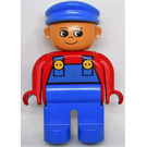 LEGO Duplo Male Figure with Blue Overalls and Cap