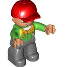 LEGO Duplo Male with Bright Green Shirt with Buttons and Wide Open Smile Duplo Figure