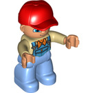 LEGO Duplo Male with Medium Blue Overalls and Orange Scarf Duplo Figure
