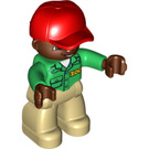 LEGO Duplo Male Zookeeper with Brown Head Duplo Figure