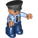 LEGO Duplo Policeman with Black Police Helmet, Tie and Copper Badge Duplo Figure