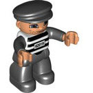 LEGO Duplo Prisoner with Black and White Striped Shirt and Number 62019 with Light Flesh Hands Duplo Figure