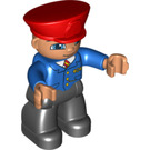 LEGO Duplo Train Conductor Figure - Black Legs, Blue  Jacket Pattern, Flesh Head and Red Hat Duplo Figure