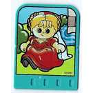 LEGO Explore Story Builder Crazy Castle Story Card with Girl in red dress pattern