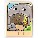 LEGO Explore Story Builder Meet the Dinosaur story card with cave and fire pattern