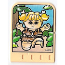 LEGO Explore Story Builder Meet the Dinosaur story card with caveman girl with bones in hair pattern