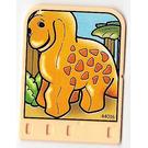 LEGO Explore Story Builder Meet the Dinosaur story card with orange dinosaur pattern