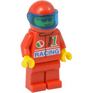 LEGO F1 Driver in Red Helmet and Suit Minifigure with Dark Blue Visor