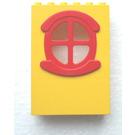LEGO Fabuland Building Wall 2 x 6 x 7 with Red Round Symmetric Window