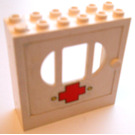 LEGO Fabuland Door Frame 2 x 6 x 5 with White Door with barred oval Window with Sticker