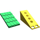 LEGO Fabuland Roof Slope with Green Roof and No Chimney Hole (787)