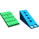 LEGO Fabuland Roof Support with Green Roof Slope and Chimney Hole (787)