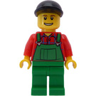 LEGO Farmer, green overalls and black bill cap Town Minifigure