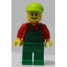 LEGO Farmer in Green Overalls, Red Shirt, Lime Ball Cap, and Open Smile Minifigure