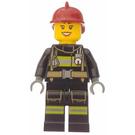 LEGO Female Firefighter With Dark Red Helmet Minifigure