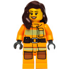 LEGO Female Firefighter with Reddish Brown Hair Minifigure