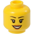 LEGO Female Head with Eyelashes and Red Lipstick (Recessed Solid Stud) (11842 / 14915)