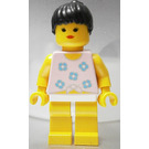 LEGO Female Paradisa with Blue Flowers Torso and Black Ponytail Hair Minifigure