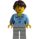 LEGO Female Shirt with Two Buttons and Shell Pendant, Ponytail Long French Braided hair Minifigure