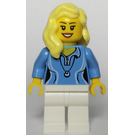 LEGO Female with Blond Hair, Medium Blue Blouse with Shell Necklace, and White Legs Minifigure