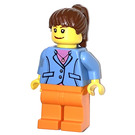 LEGO Female with Blue Jacket, Pink Shirt, Necklage and Ponytail Minifigure