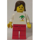 LEGO Female with Palm Tree Shirt, Brown Hair Minifigure