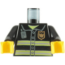 LEGO Fire-Fighter's Torso with Jacket with Neon Yellow Horizontal Stripes and Golden Badge with Black Arms and Yellow Hands (76382 / 88585)