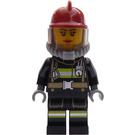 LEGO Firefighter female dark red helmet Minifigure