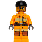 LEGO Firefighter with Black Cap, Glasses and Beard Minifigure