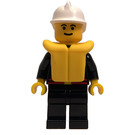 LEGO Fireman with Black coat with Flame Badge and Red Belt, Black Legs, and White Fire Helmet Minifigure