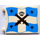 LEGO Flag 6 x 4 with 2 Connectors with Black Crossed Cannons, Crown and Fleur De Lys over Blue and White Cross Pattern (2525)