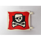 LEGO Flag 6 x 4 with 2 Connectors with Jolly Roger on red background (2525)