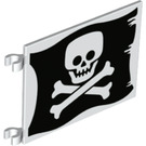 LEGO Flag 6 x 4 with 2 Connectors with Skull and crossbones on black background (2525 / 69437)