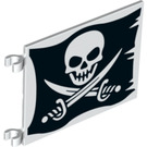 LEGO Flag 6 x 4 with 2 Connectors with Skull and crossbones on ripped black flag (2525 / 19192)