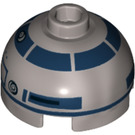 LEGO R2-D2 Round 2 x 2 Dome Top with Lavender Dots and Dark Blue Pattern and Recessed Solid Stud (26448)