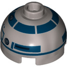 LEGO Flat Silver R2-D2 Round 2 x 2 Dome Top with Red Dots and Dark Blue Pattern (Hollow Stud with Bottom Axle Holder x Shape + Orientation) (15795)