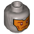 LEGO Royal Soldier Head with Dark Orange Markings on Orange Background (Recessed Solid Stud) (3626 / 24140)