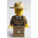 LEGO Forest Police - Dark Tan Jacket with Pockets, Gold Badge and Braid, Olive Green Tie, Dark Tan Legs, Campaign Hat Minifigure