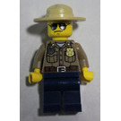 LEGO Forest Police - Dark Tan Shirt with Pockets, Radio and Gold Badge, Dark Blue Legs, Campaign Hat, Black and Silver Sunglasses Minifigure