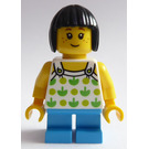 LEGO Girl in White Shirt with Green Print Minifigure